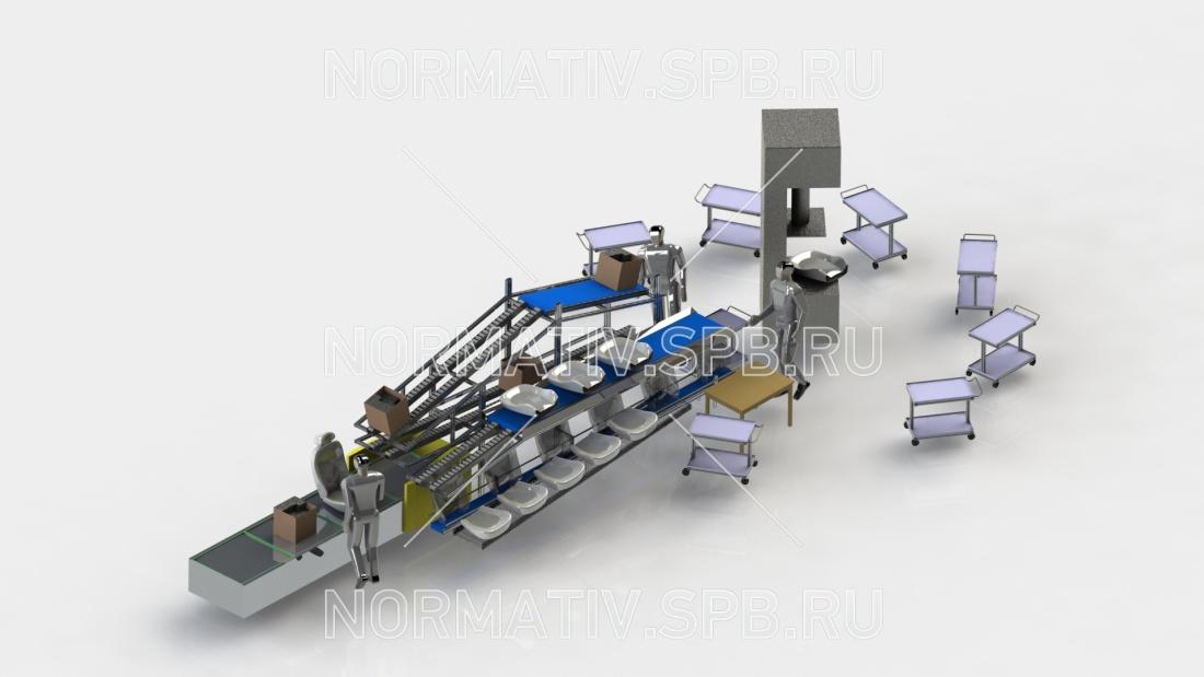 Конвейерная линия изготовления автомобильных сидений