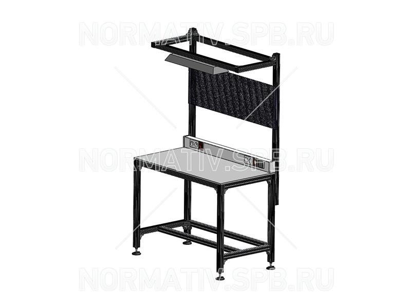 Промышленная сборочная мебель из алюминиевого профиля. Монтажно-сборочные столы алюминиевые под заказ. Транспортеры ООО Норматив. Индивидуальное проектирование, чертеж, моделирование, изготовление, монтаж конвейерного оборудования.